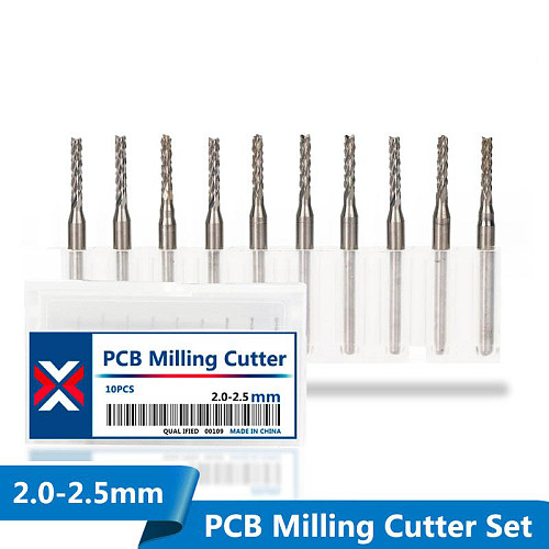 10pcs PCB Milling Cutter 2.0/2.1/2.3/2.4/2.5mm Corn Router Bit Tungsten Carbide Mini CNC Engraving Bit End Mills