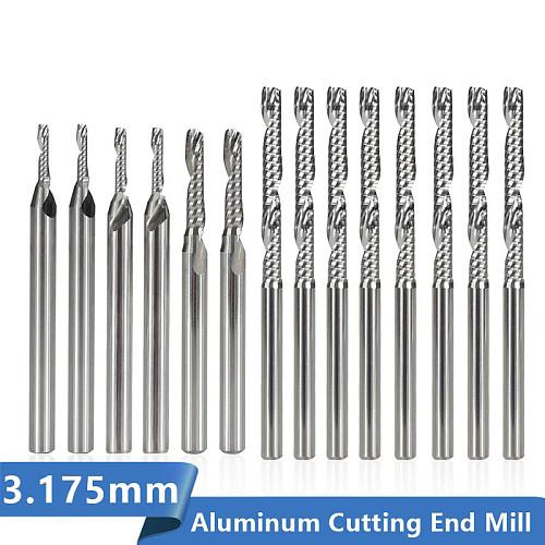 Single Flute Aluminum Cutting End Mill 3.175mm Shank Spiral Milling Cutter Carbide CNC Router Bit