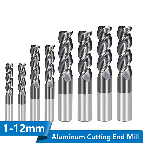Carbide End Mill 1-12mm 3 Flute End Milling Bit for Aluminum Copper Cutting Super Coated CNC Router Bit Milling Cutter