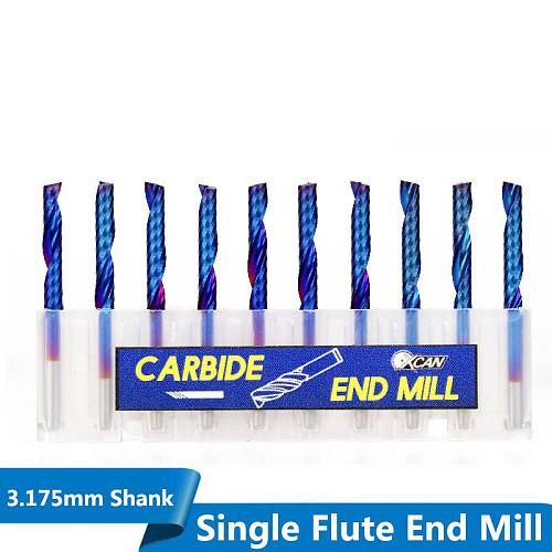 XCAN 10pcs 3.175 Shank Blue Coated Single Flute CNC Router Bit Tungsten Carbide Spiral End Mills Milling Cutter 2/2.5/3.175mm