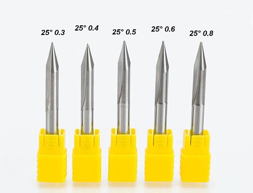 5pcs/lot Shank 6mm 2 Flutes Engraving Bits Deep Cutter CNC Carving V Type Bits Carving Machine Tools 50mm End Mill