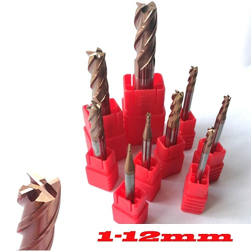 1mm 2mm 3mm 4mm 5mm 6mm 8mm 10mm 12mm 4 Flutes HRC55 Tungsten Carbide Square Flat End Mills Spiral Bits  CNC Endmill Router Bits