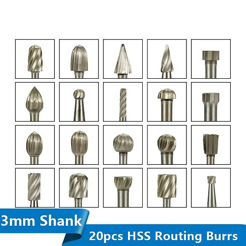 Rotary Router Milling Cutter 20pcs 3mm Shank HSS Routing Router Bits Burr Rotary Wood Carving Tool Kit Woodworking Tools