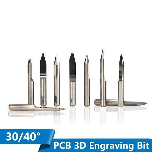 10pcs 30 40 degree V Shape Milling Cutter 3.175mm(1/8'') Shank Carbide PCB Engraving Bits CNC Router Tool