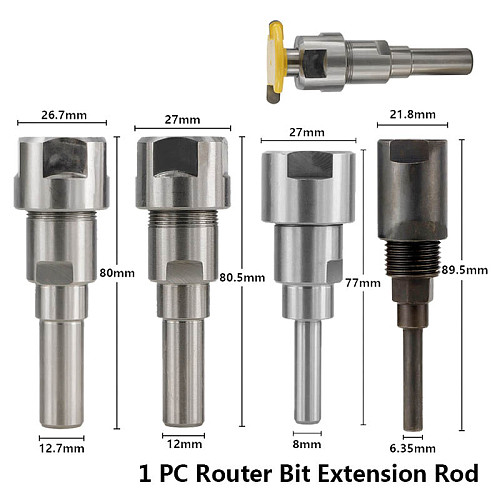 1pc 1/4 (6.35mm) 8mm 12mm 1/2 (12.7mm) Shank Router Collet Extension For Engraving Machine Router Bit Extension Rod