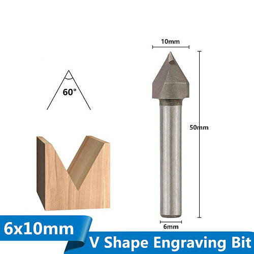 1pc 6x10mm 60Degree V Shape Chamfer End Mills Router Bit for Woodworking 3D Milling Cutter V Groove Router Bit