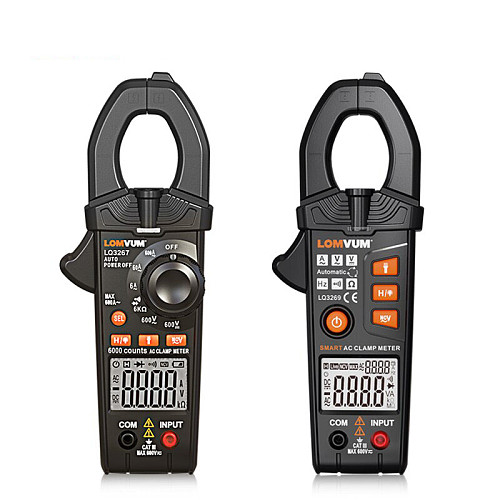 Smart Clamp Meter Digital Non-Contact 6000 600A AC DC Current Voltage Ture Rms NCV Multimeter Frequency LED FlashLight