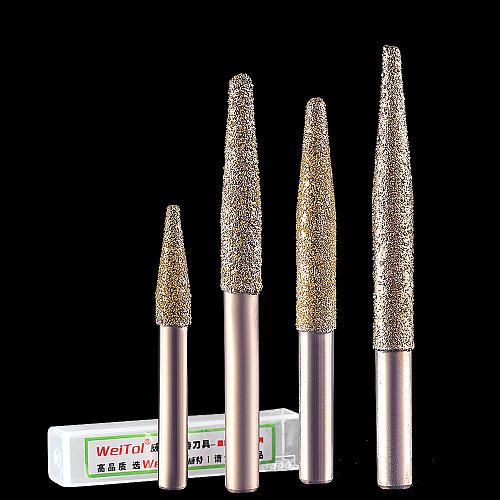 10mm Electroplate diamond emery stone cutter bits taper vacuum brazed router bits cnc cutting bit for granite