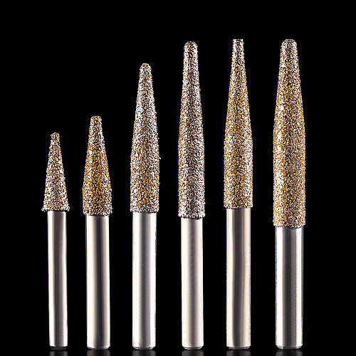 10mm Electroplate diamond emery stone cutter bits taper vacuum brazed router bits cnc cutting bit for granite