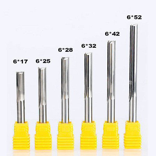 2pcs/lot  Shank 6mm Two Flutes Straight Router Bits For Wood CNC Engraving Cutters Carbide Endmills Tools Milling Cutter