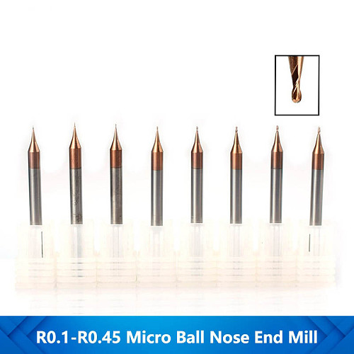 1pc 0.1-0.45mm Micro Ball Nose End Mill 2 Flutes Tungsten Steel CNC Milling Cutter TiCN Coated Milling Bit