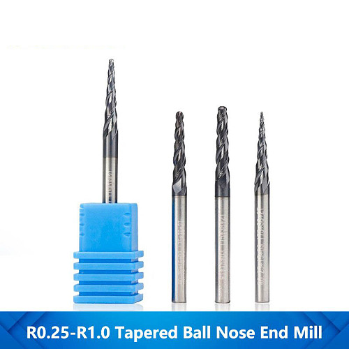 1pc 3.175mm Shank R0.25-R1.0 Tapered Ball Nose End Mill TiAIN Coated CNC Milling Cutter Carbide Woodworking Engraving Bit