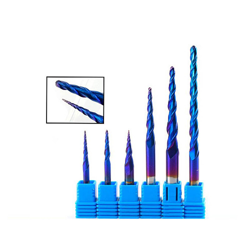 Ball Nose Tapered End Mills R0.25-R2.0 Solid Carbide CNC Router bites HRC65 Nano Blue Coating Metal Wood Engraving Bit