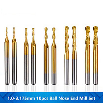 10pcs 1.0/1.5/2.0/2.5/3.175mm Ball Nose End Mill 1/8'' Shank Titanium Coated Carbide End Mill CNC Wood Milling Engraving Bit