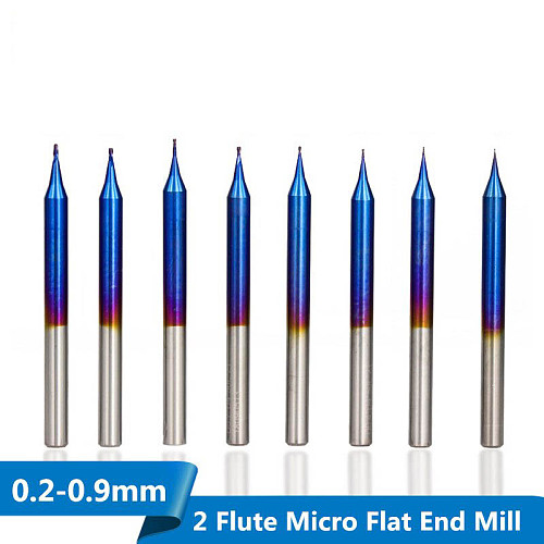 1pc D0.2-D0.9mm Micro Flat End Mill Tungsten Carbide 2 Flutes CNC Router Bit Nano Blue Coated Micro End Milling Cutter