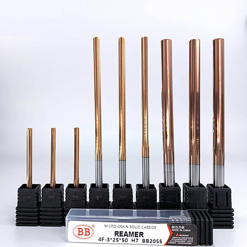 1~6mm Carbide Machine Reamer Coated Straight Flute H7 Tolerance Chucking Hardened Steel Metal Cutter 6 Flutes CNC 150mm