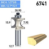1pc 1/2 1/4 inch Shank Half Round bit 2 Flute Endmill Router Bits for Wood With Bearing Woodworking Tool Milling Cutter