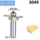 1pcs 1/2  Shank Chamfer Cutter Router Bits for wood Horse Nose Bit 45 Deg CNC Woodworking Tools two Flute endmill