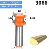 1pcs 1/2  Shank Half Round bit 2 flute endmill Router Bits for wood without bearing Woodworking Tool milling cutter