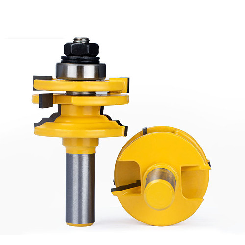 1pc 1/2  Shank Glass Door Frame Joint Router Bit Tungsten Carbide Woodworking Milling Cutter A Dual-use For Mortising