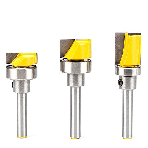 1pc 1/4  Shank Woodworking Router Bits Burrs Cutter Wood Imitation Milling Cutter CNC Cleaning Bottom Bit With Bearing