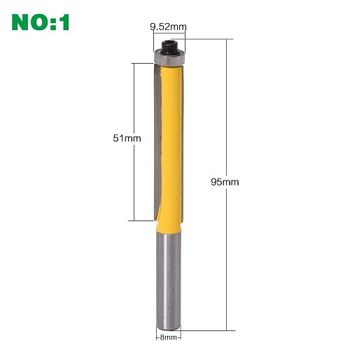 1Pc 8mm SHANK long blade flush bit Flush Trim Router Bit End Bearing For Woodworking Cutting Tool