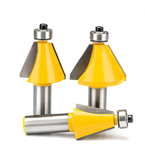 1/2  Chamfering Router Bit With Bearing Trimming 45 Degree Angle Milling Cutter Trapezoidal Sharped CNC Bit