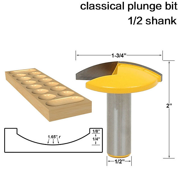 1pc 1/2  Shank 12mm shank Small Bowl Router Bit - 1.65  Radius - 1-3/4  Wide For Woodworking Cutting Tool