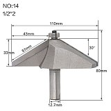 1pcs 1/2  Shank Chamfer Cutter Router Bits for wood Horse Nose Bit 60raised panel bit Woodworking Tools two Flute endmill