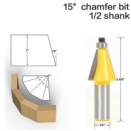 1pc 15 Degree Chamfer & Bevel Edging Router Bit - 1/2  Shank - woodworking cutter woodworking bits