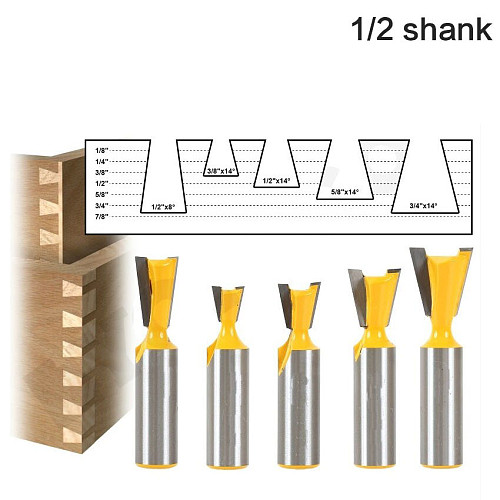 5pcs/set High Quality Industry Standard 1/2  Shank 12mm shank Dovetail Router Bit Cutter wood working