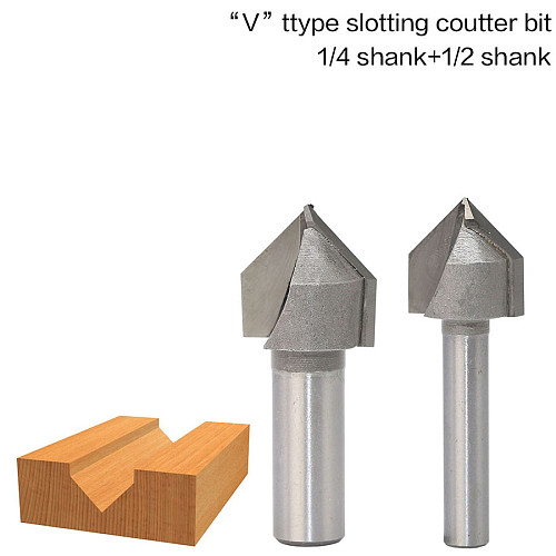 1pcs 1/2  1/4  Shank Industrial Grade Router Bits for wood 90 Deg V Type slotting cutter Tungsten Woodworking Carving TooL
