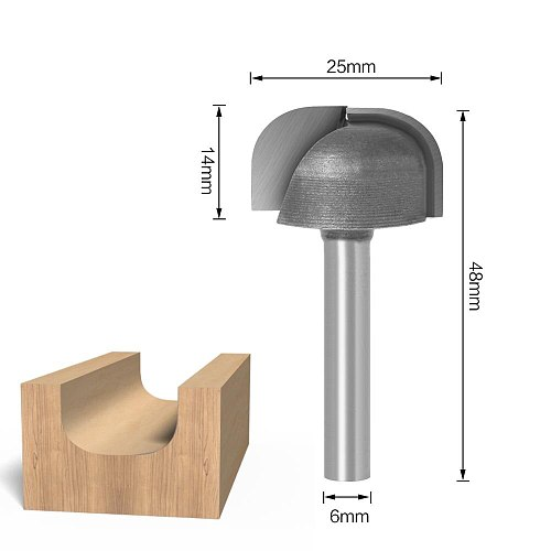 6mm Shank 25mm  Diameter Bowl & Tray Router Bit Wood Cutting Tool Woodworking router Bits
