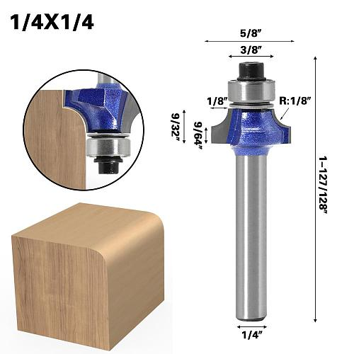 1/4″shank Corner Round Professional level Over Router Bit with Bearing Milling Cutter for Wood Woodworking Tool Tungsten Carbide