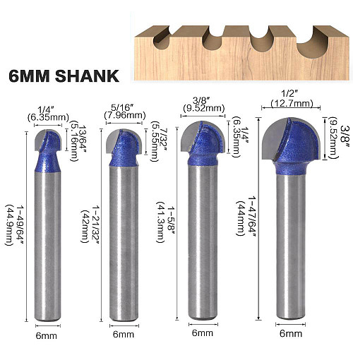 1pcs 6mm Shank Professional level Ball Nose Router Bits Set End Mill Round Cove Box Solid Carbide CNC Radius Core Milling Bit
