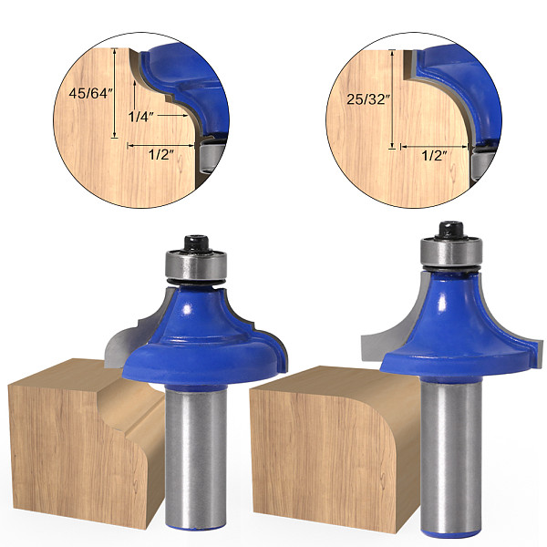 1pcs12mm shank 1/2  shank Corner Round Over Router Bit with BearingMilling Cutter for Wood Woodwork Tungsten Carbide