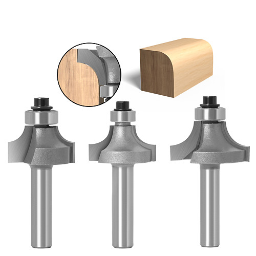 3pc 8mm Shank Round-Over Router Bits for wood Woodworking Tool 2 flute endmill with bearing milling cutter Corner Round Over Bit