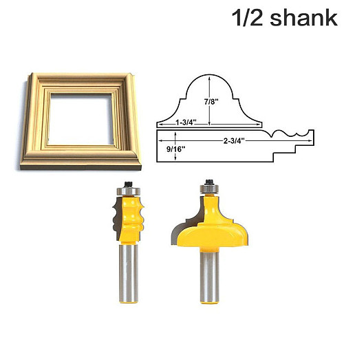 2pcs Picture Frame Router Bits - Complete Set1/2  12mm Shank Line knife Woodworking cutter Tenon Cutter for Woodworking Tools