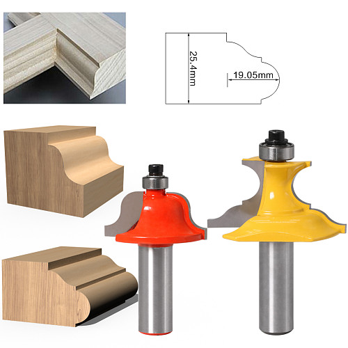 2pc 1/2 Shank 12mm shankWainscoting Roman Ogee & Pedestal Router Bit C3 Carbide Tipped Wood Cutting Tool woodworking router bits