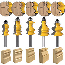 5PC 8mm Shank Casing & Base Molding Router Bit Set CNC Line knife Woodworking cutter Tenon Cutter for Woodworking Tools