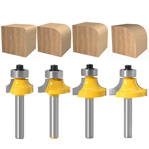 1pc 1/4 shank Corner Round Over Router Bit with Bearing for Wood Woodworking Tool Tungsten Carbide Milling Cutter