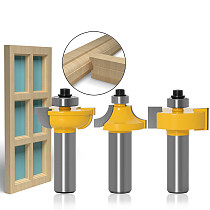 3pcs/set Glass door plank wood working tools curboard cutter router bits 1/2 shank 12mm shank T type ballnose