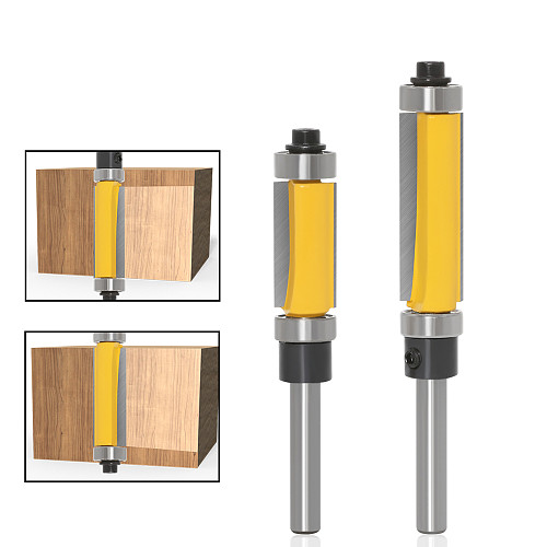 1Pc 6mm 1/4  Shank Template/Trim Router Bit, with 2  Long Routing Cutters. Features: top & bottom ball bearings Woodworking Tool