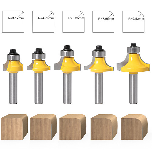 5pcs 8mm Corner Round Over Router Bit with Bearing Milling Cutter for Wood Woodworking Tool Tungsten Carbide