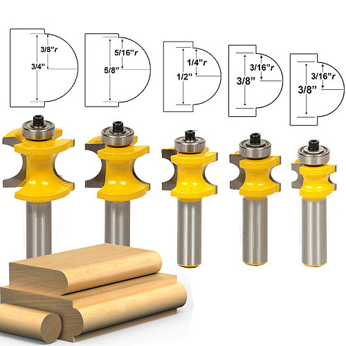 1-5Pc Bullnose Router Bit Set C3 Carbide Tipped 1/2  Shank 12mm shank Woodworking cutter - RCT17001