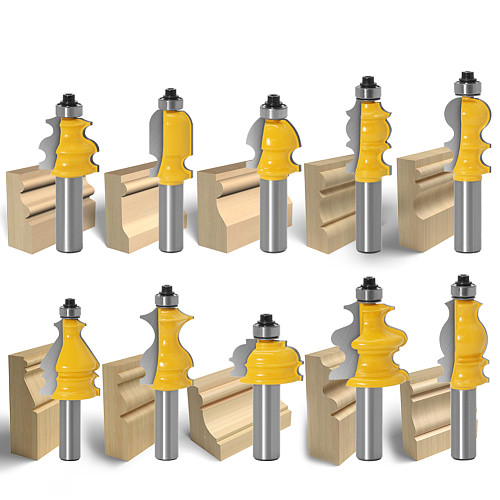 10pcs 12mm Shank Architectural Molding Handrail Router Bits Set Casing Base CNC Line Woodworking Cutters Face Mill