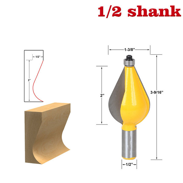 1PC 1/2  Shank 12mm shank Large Furniture Foot Mold Router Bit Line knife Woodworking cutter Tenon Cutter for Woodworking Tools