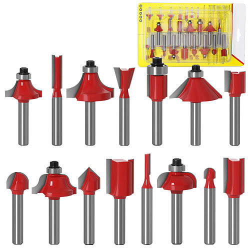 JGZUI 15pcs 1/4inch Router Bit Set Trimming Straight Milling Cutter for Wood Bits Tungsten Carbide Cutting Woodworking