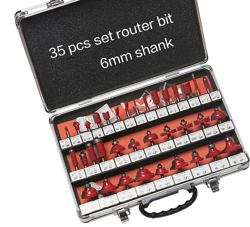 35PCS  6mm Shank Tungsten Carbide Router Bit Set Wood Woodworking Cutter Trimming Knife Forming Milling w/ Wood Case box