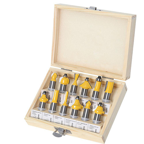 12pcs 1/2 inch Router Bit Set Trimming Straight Milling Cutter Wood Bits Tungsten Carbide Cutting Woodworking Trimming